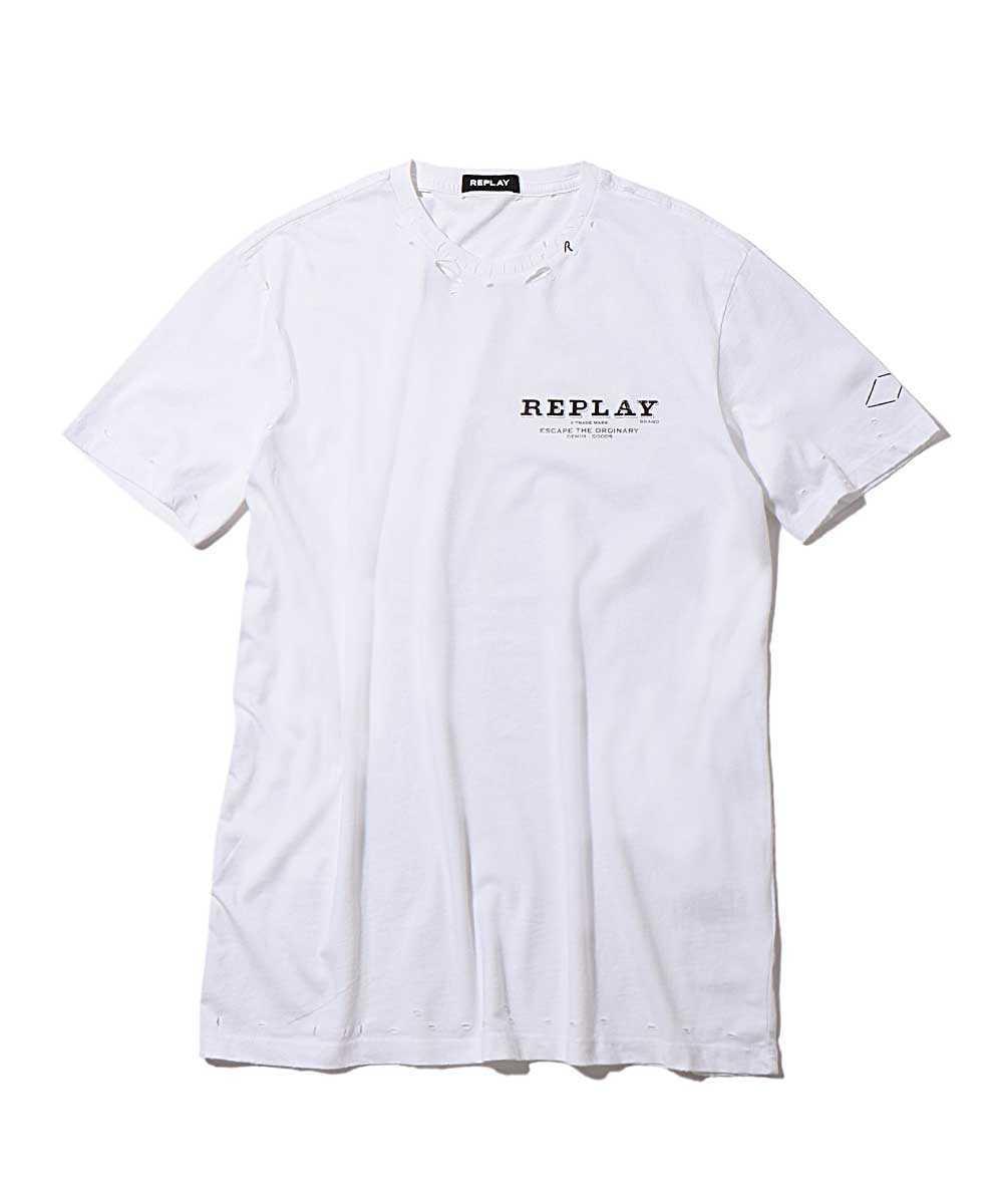 ダメージクルーネックTシャツ