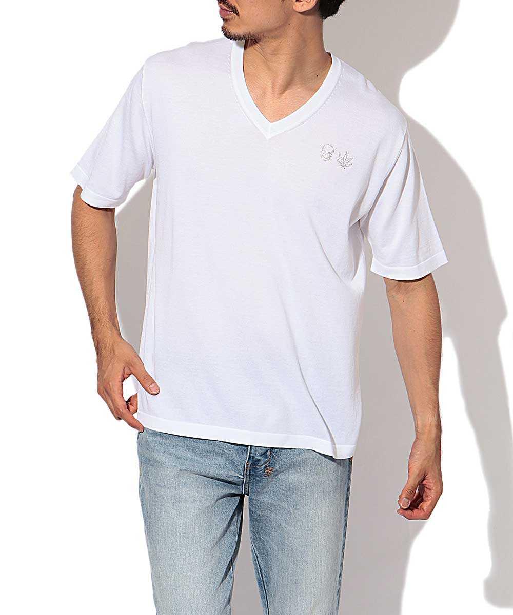 ニットVネックTシャツ