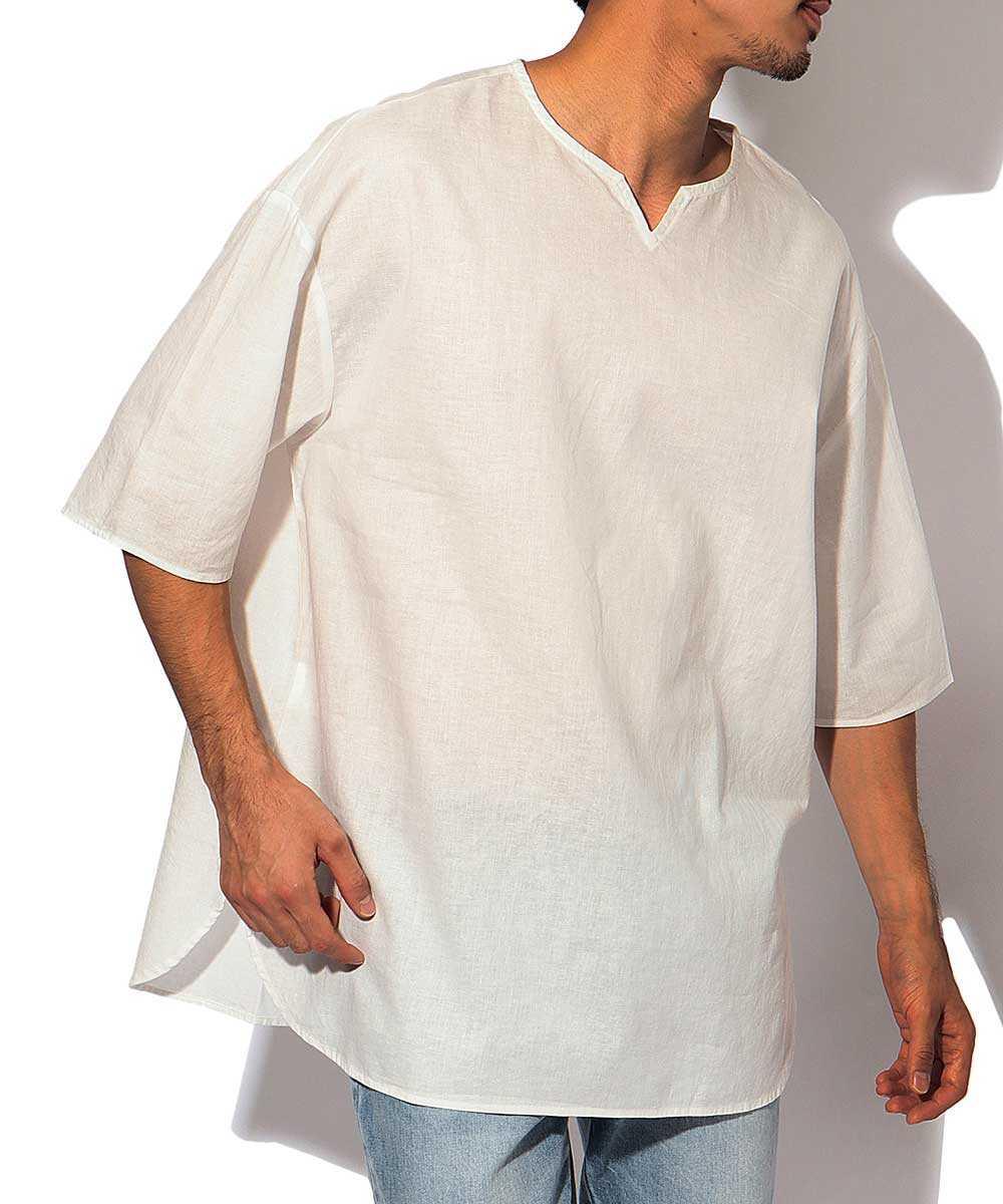 綿麻プルオーバー半袖シャツ