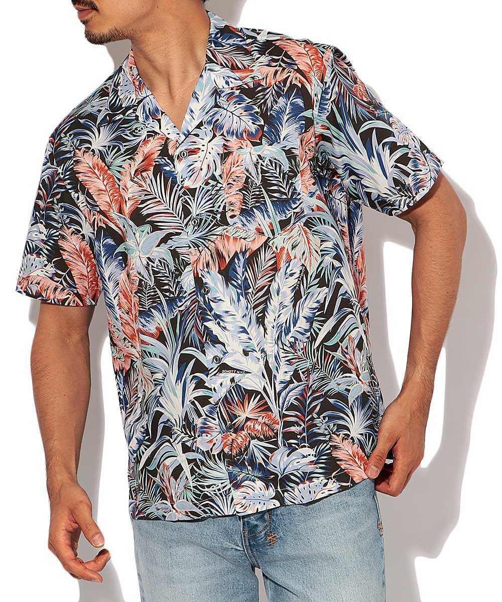 ボタニカル柄開襟シャツ