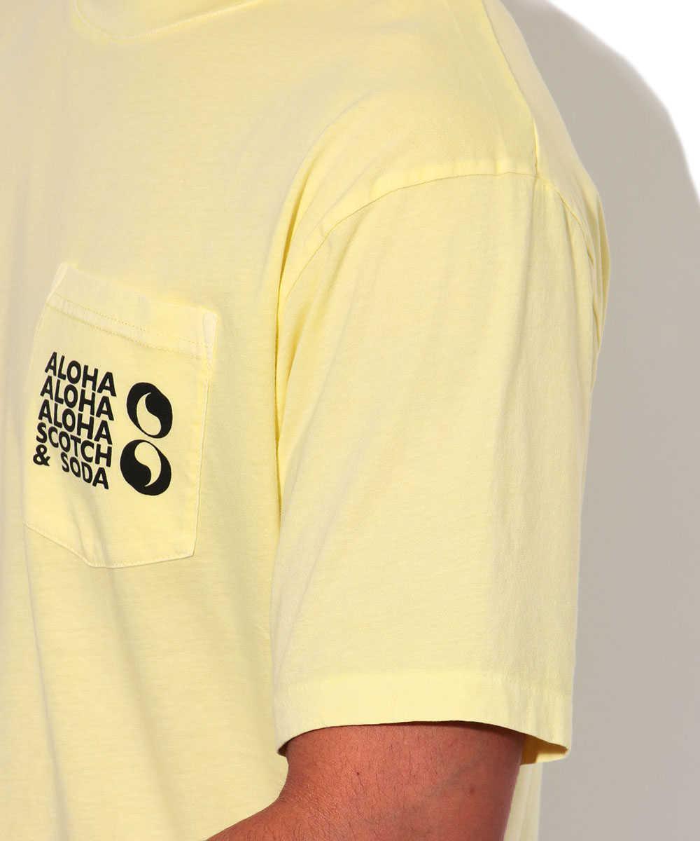 プリントポケットクルーネックTシャツ