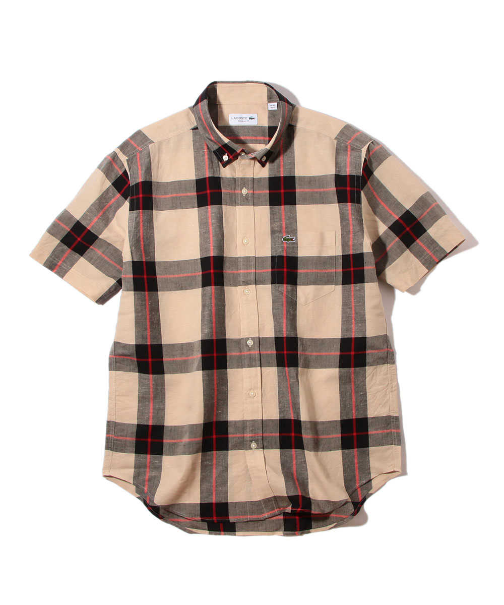 ボタンダウンチェック半袖シャツ