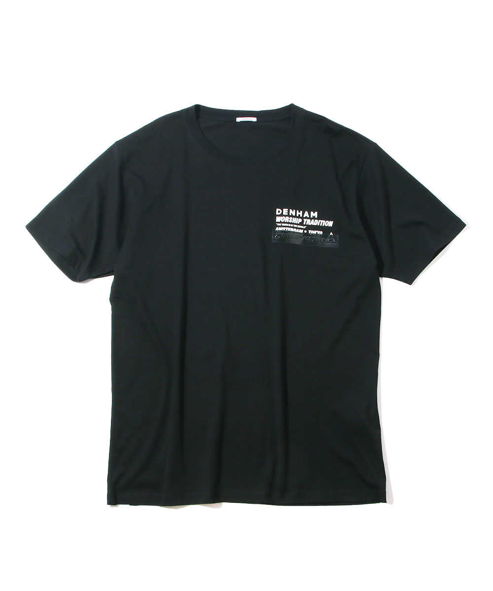 """""""ウァーシップ TEE MCC""""ロゴプリントクルーネックTシャツ"""