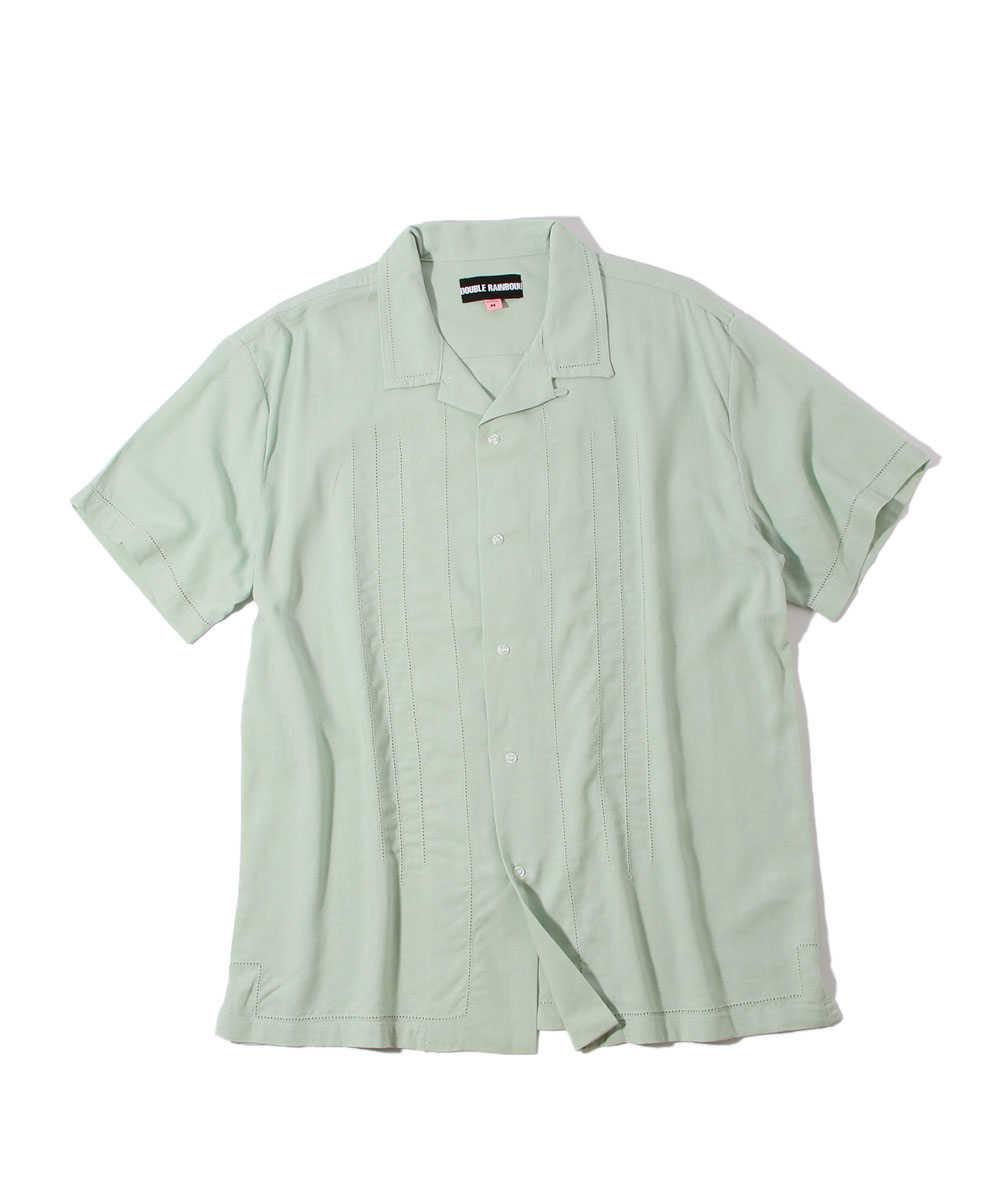 リネンオープンカラー半袖シャツ