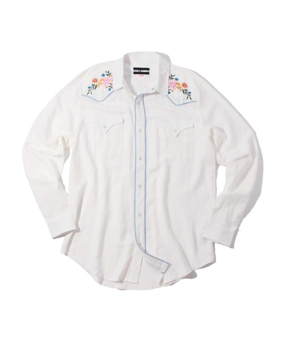 刺繍リネンウエスタンシャツ