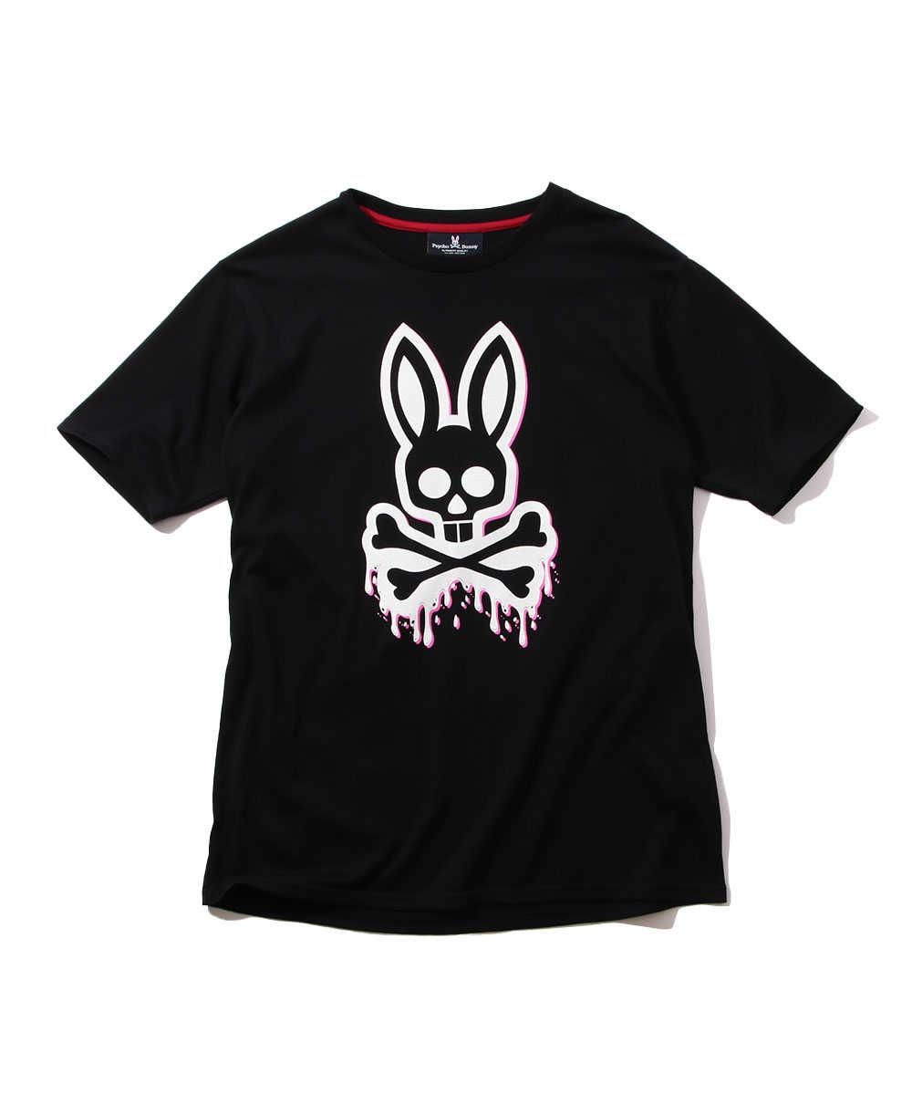 ドリップバニーロゴプリントクルーネックTシャツ