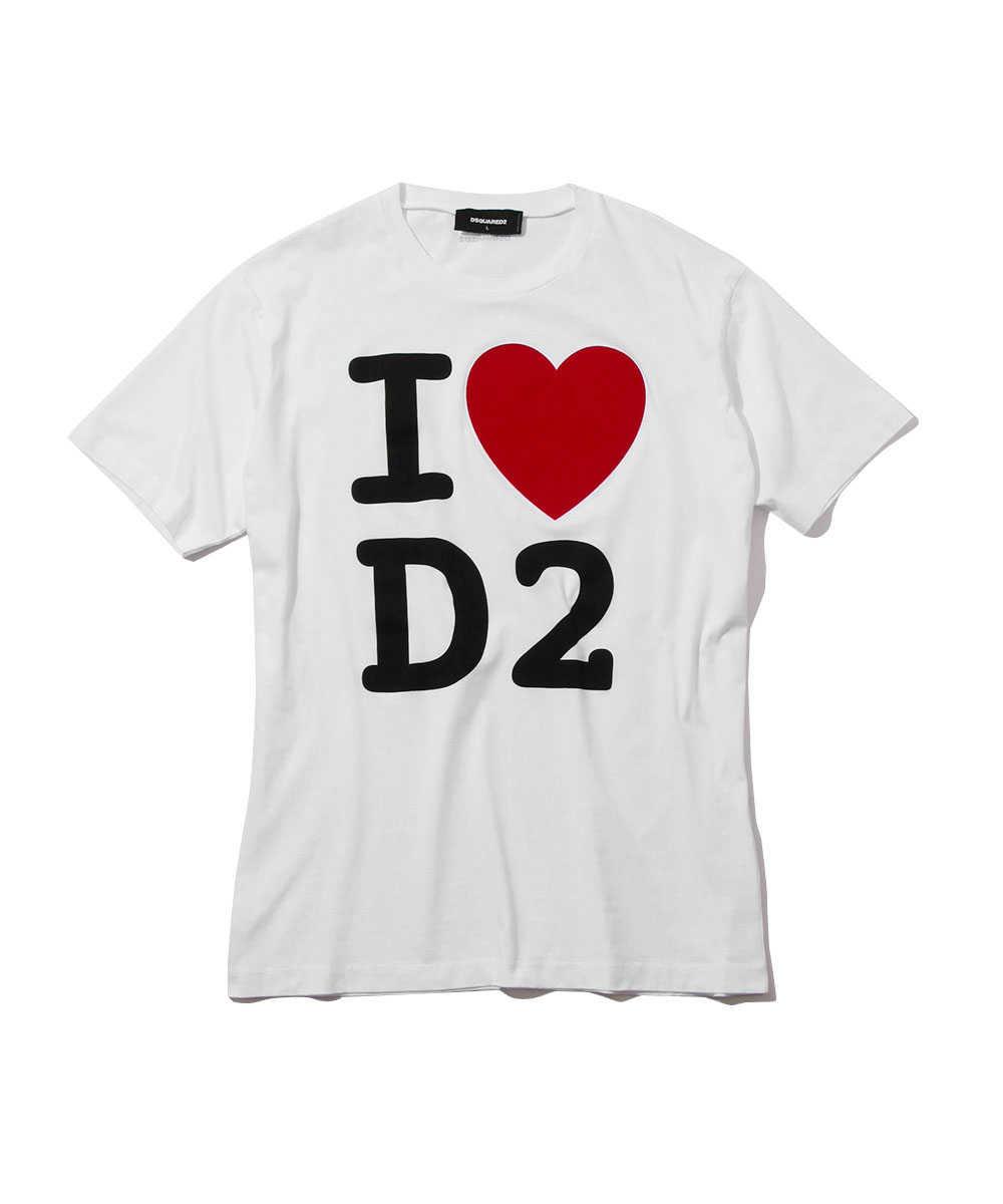 """""""I LOVE D2""""プリントクルーネックTシャツ"""