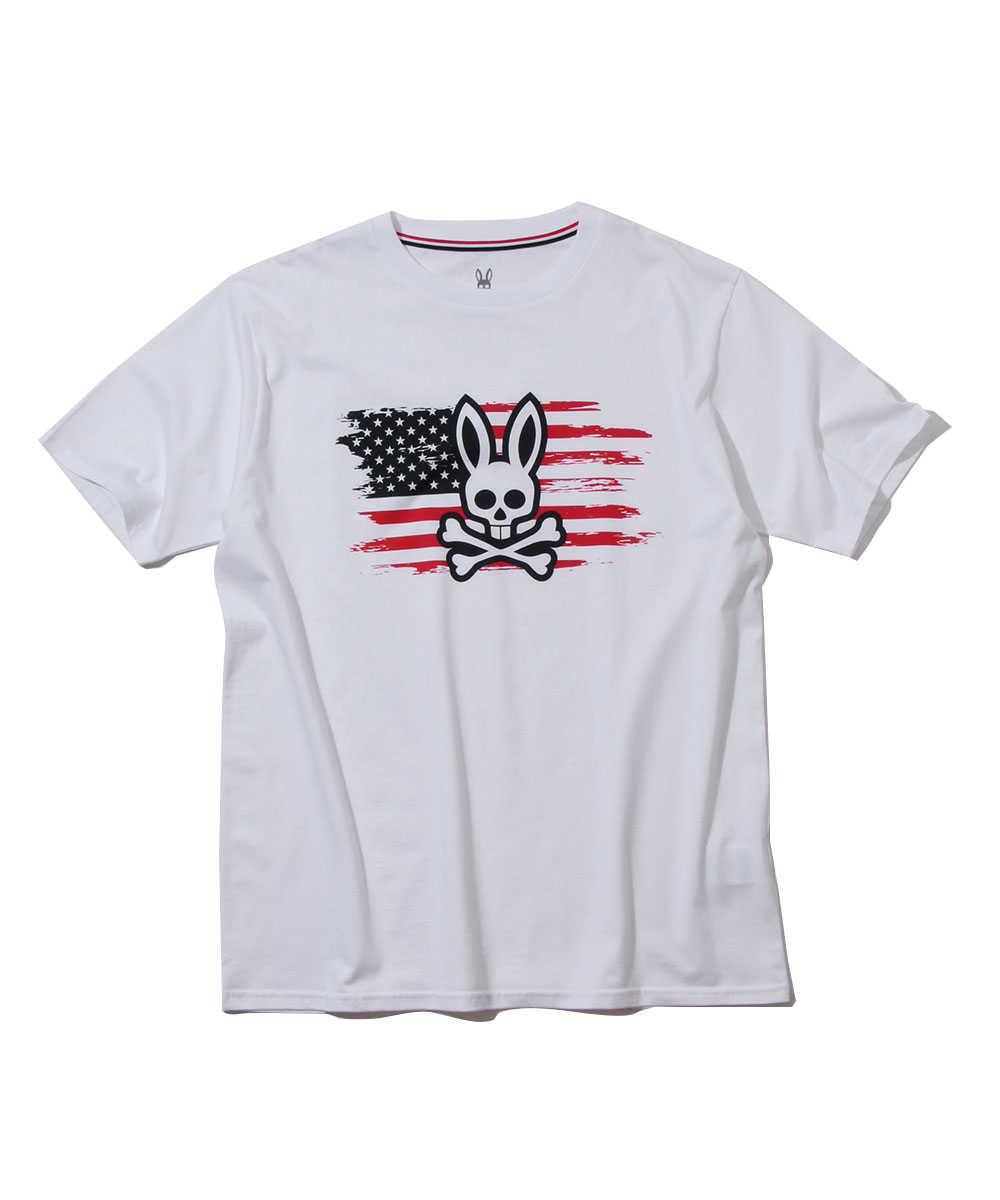 フラッグ&ロゴプリントクルーネックTシャツ