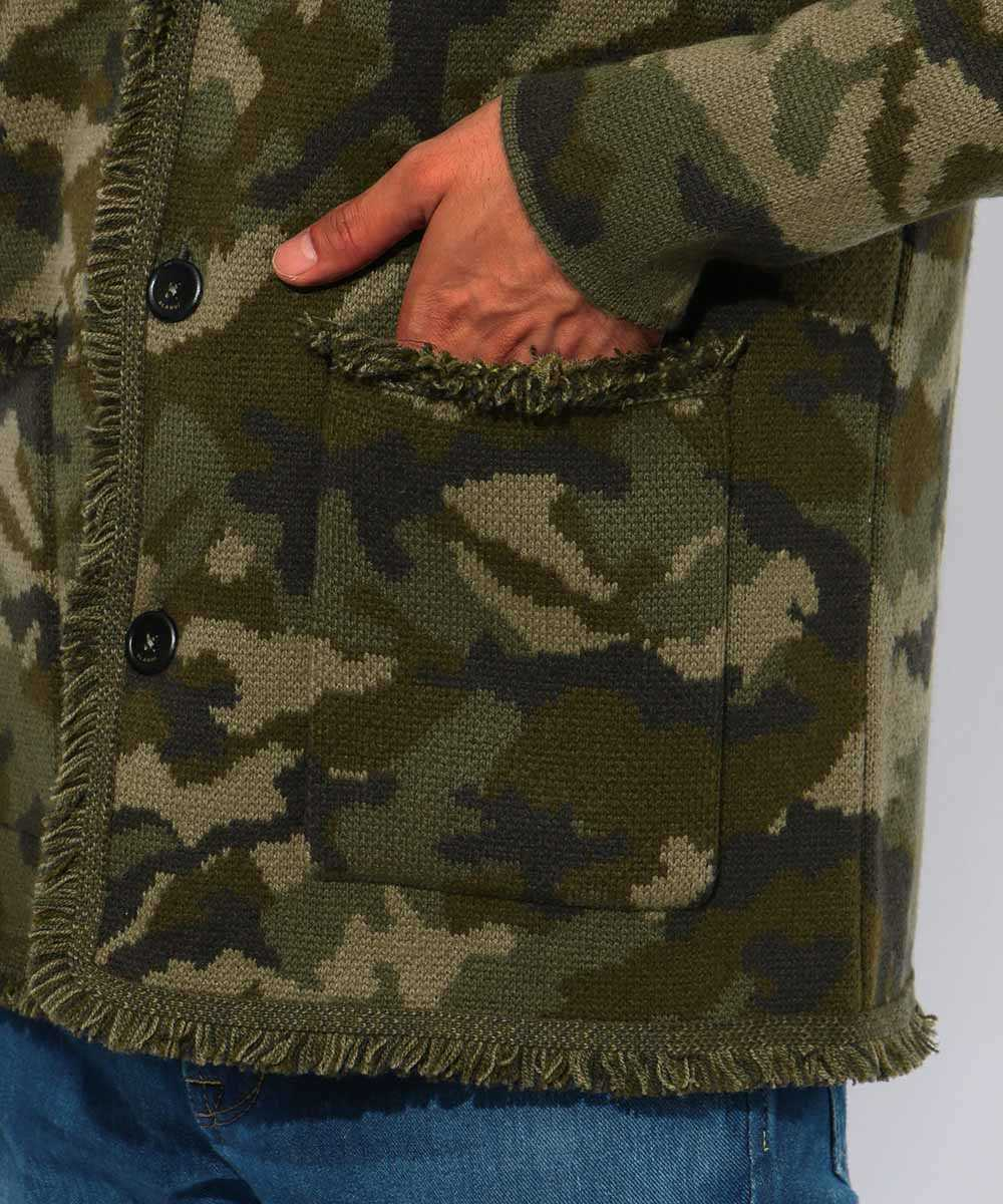 カモ柄カシミヤニットジャケット