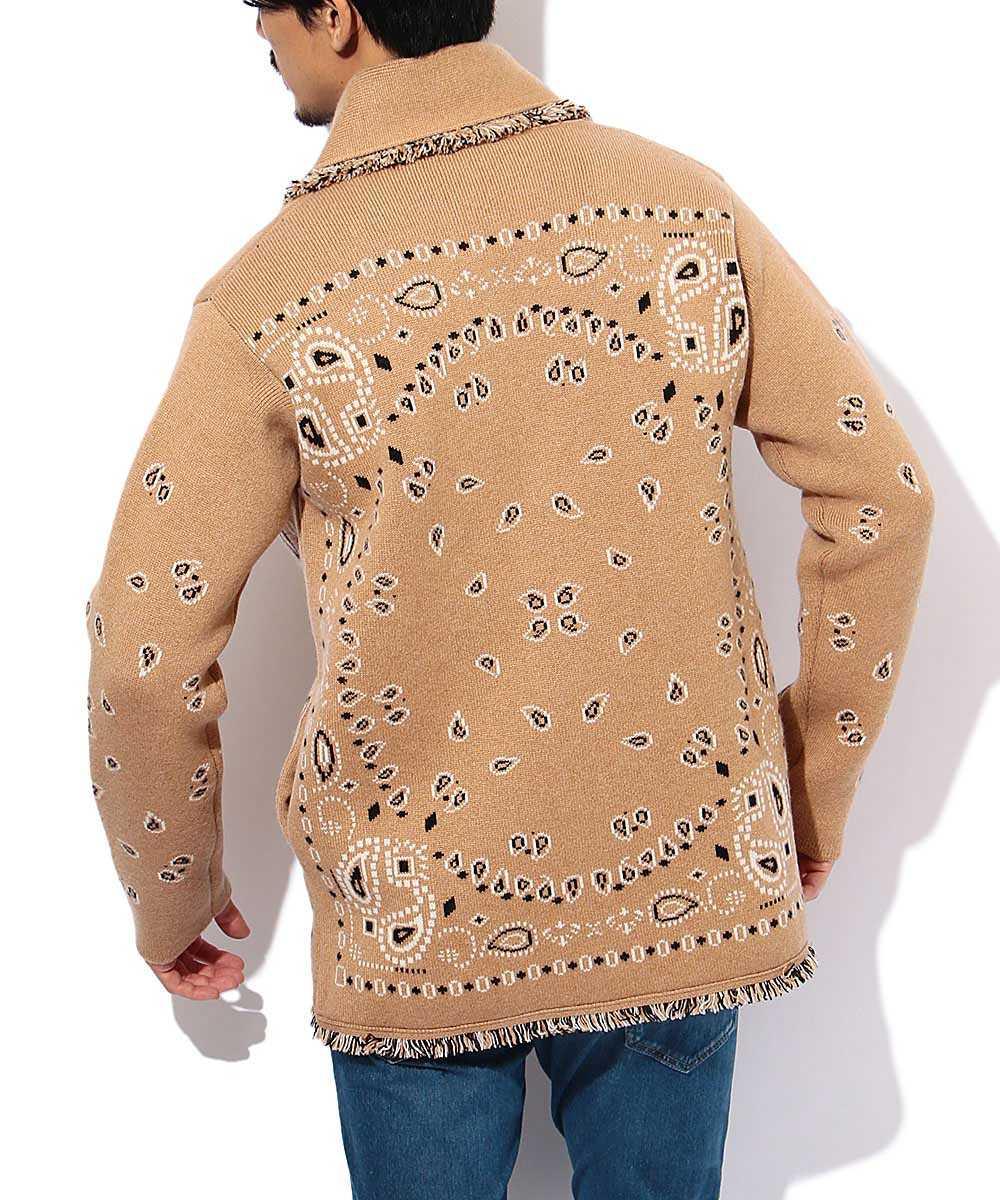 バンダナ柄カシミヤニットジャケット