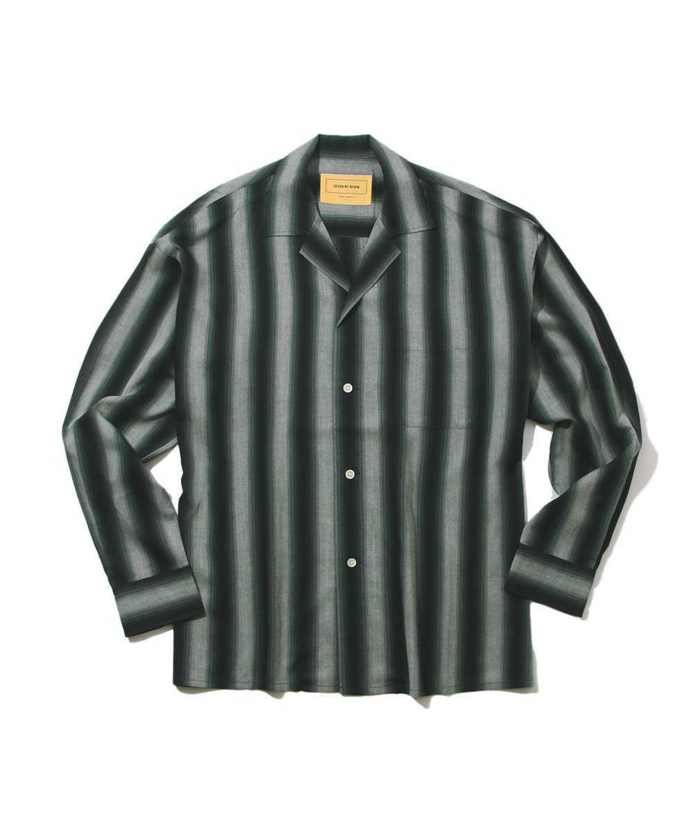グラデーションストライプ開襟シャツ