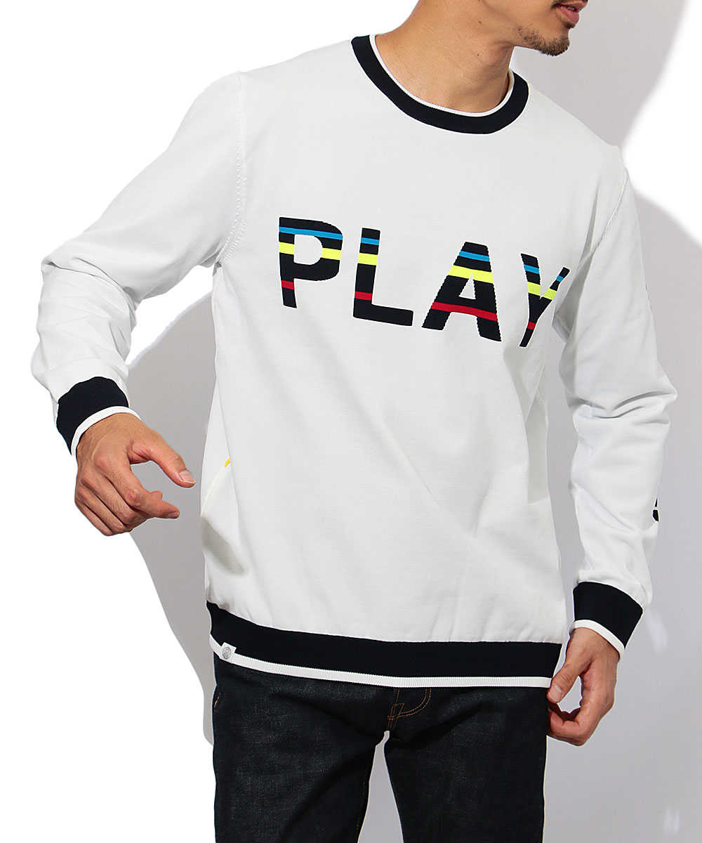 """""""PLAY WELL""""クルーネックニット"""
