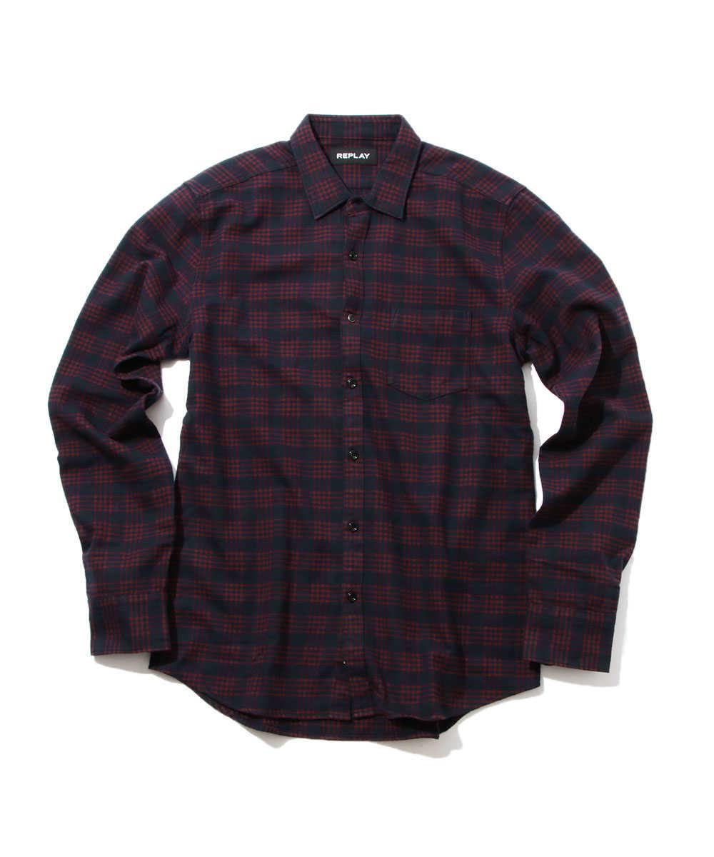 フランネルツイルチェックシャツ