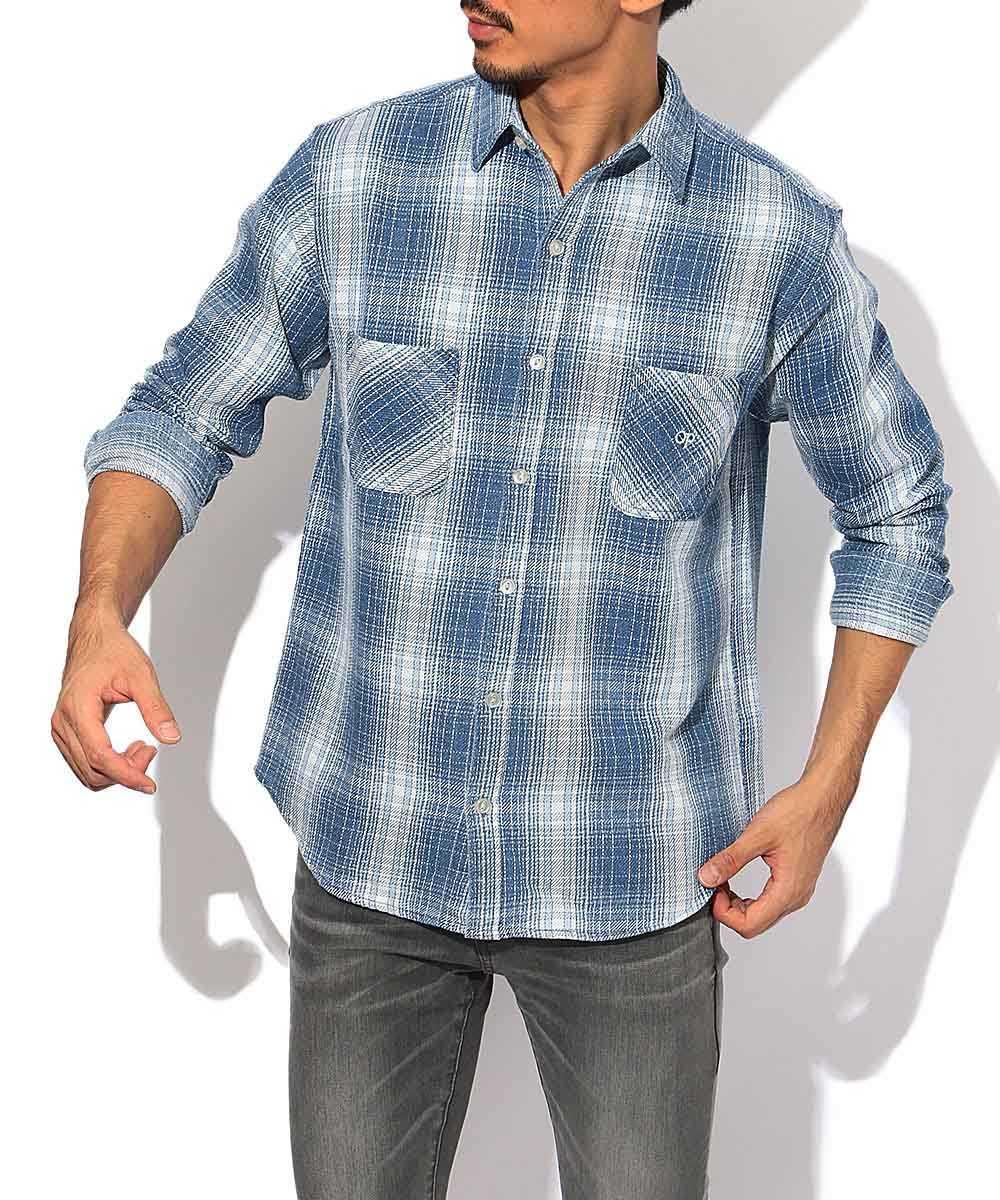 インディゴチェック柄シャツ