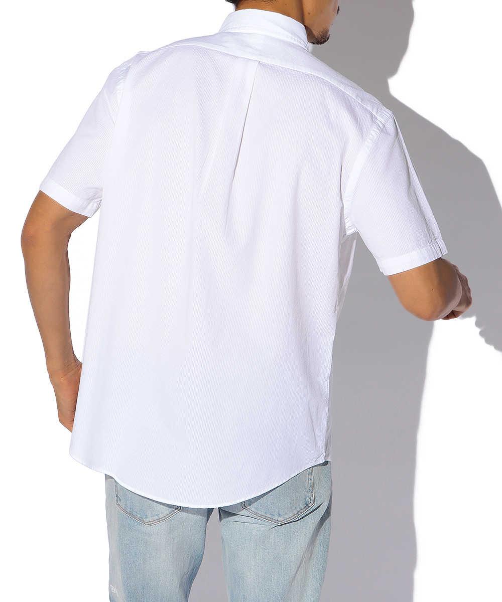 シアサッカーボタンダウン半袖シャツ