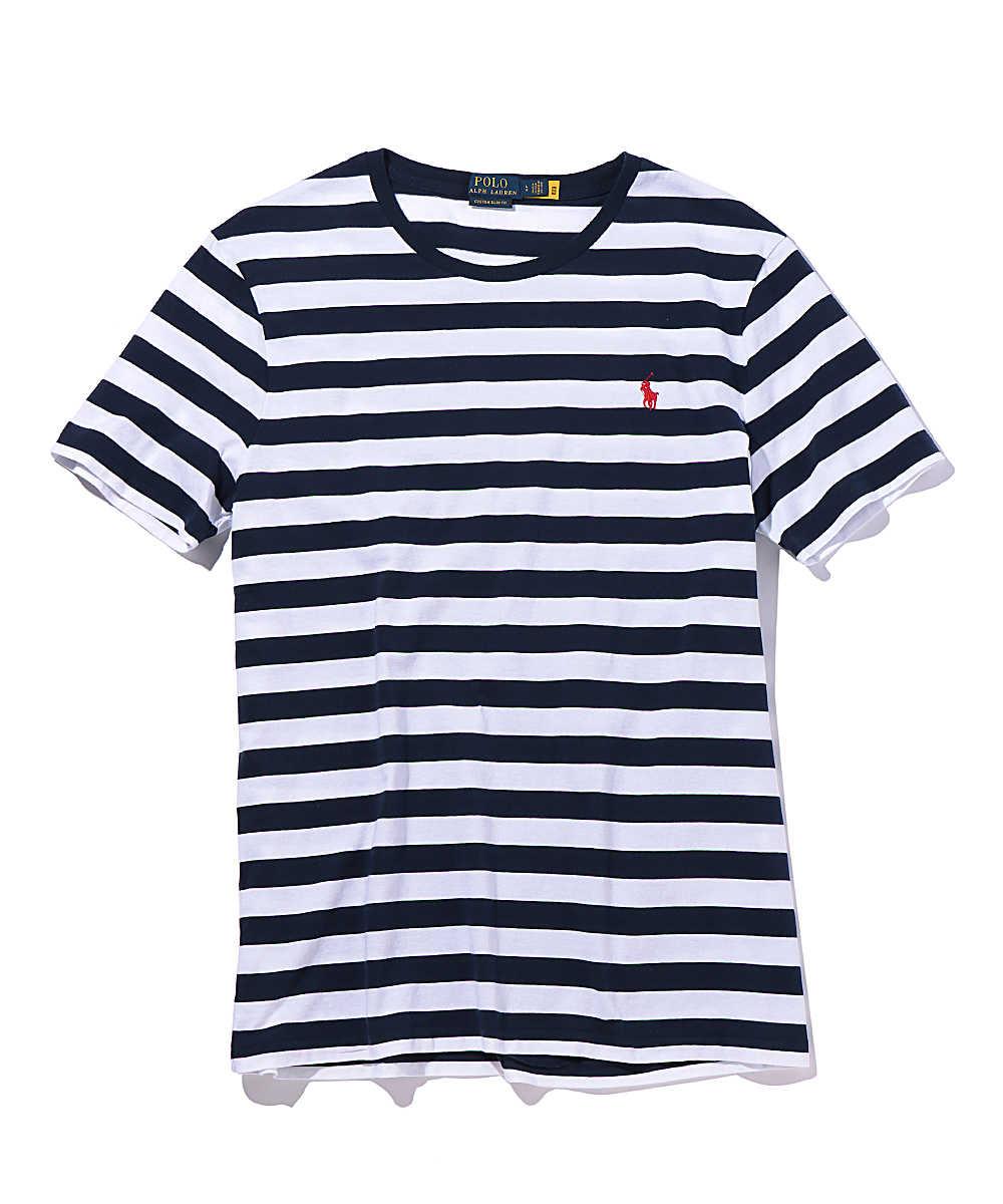 ボーダー柄クルーネックTシャツ