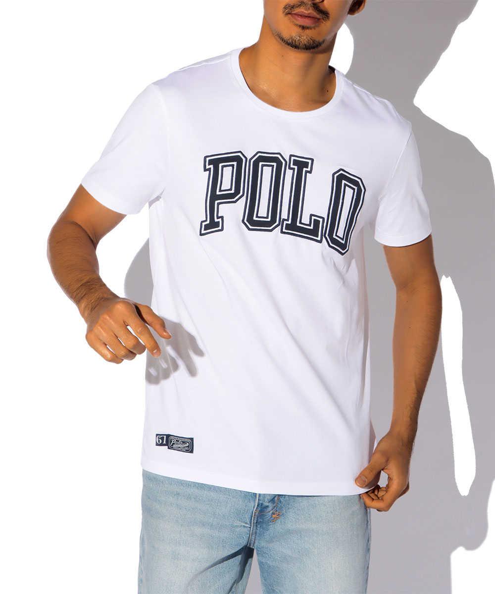 カレッジロゴプリントクルーネックTシャツ