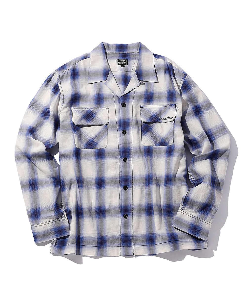 オンブレチェックオープンカラーシャツ