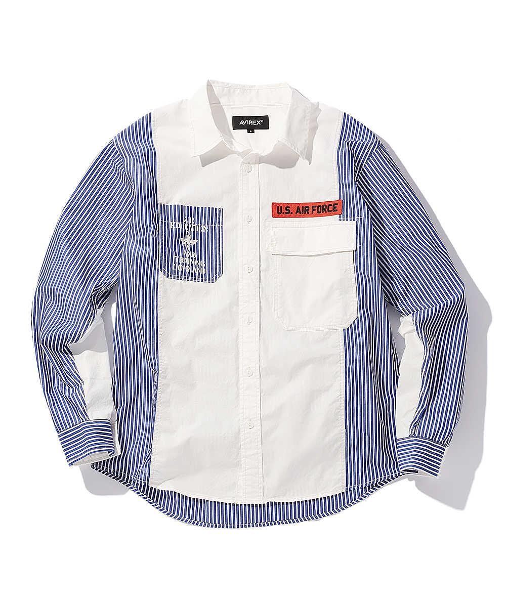 リメイクストライプミリタリーシャツ