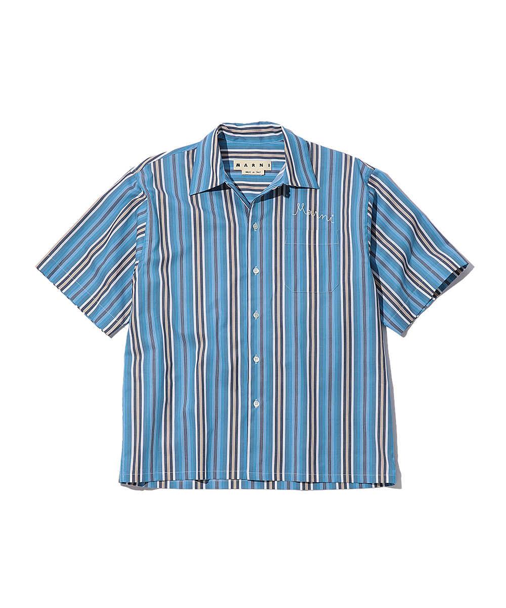 マルチストライプ半袖シャツ