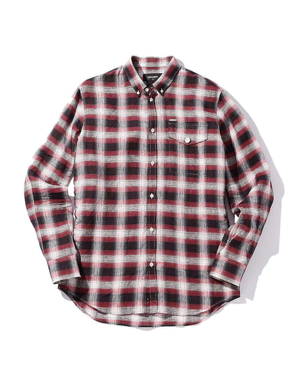 リネンボタンダウンチェックシャツ