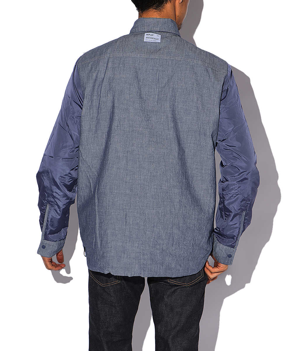 ナイロンデニムシャツジャケット