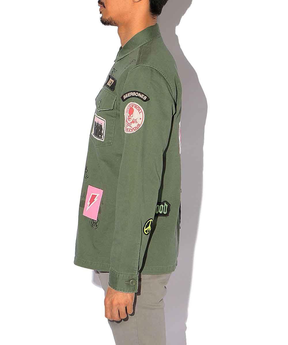 サテンミリタリージャケット