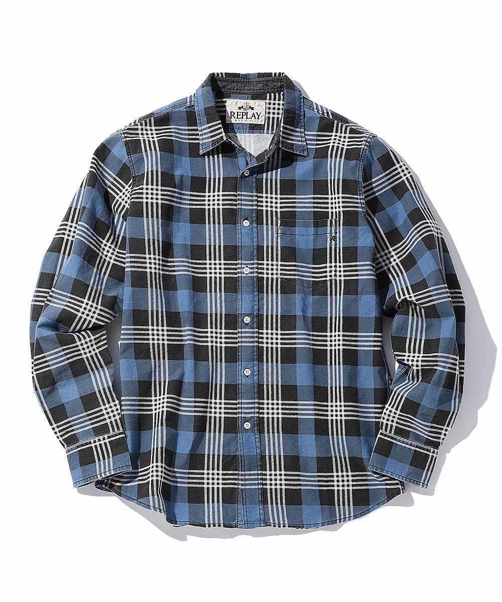ブルーブラックチェックシャツ