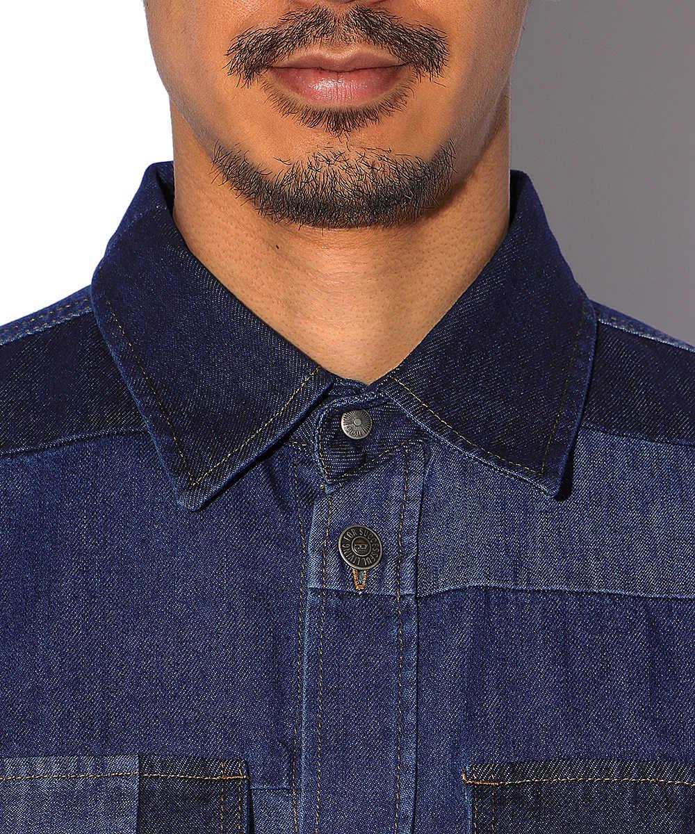 パッチワークデニムシャツ