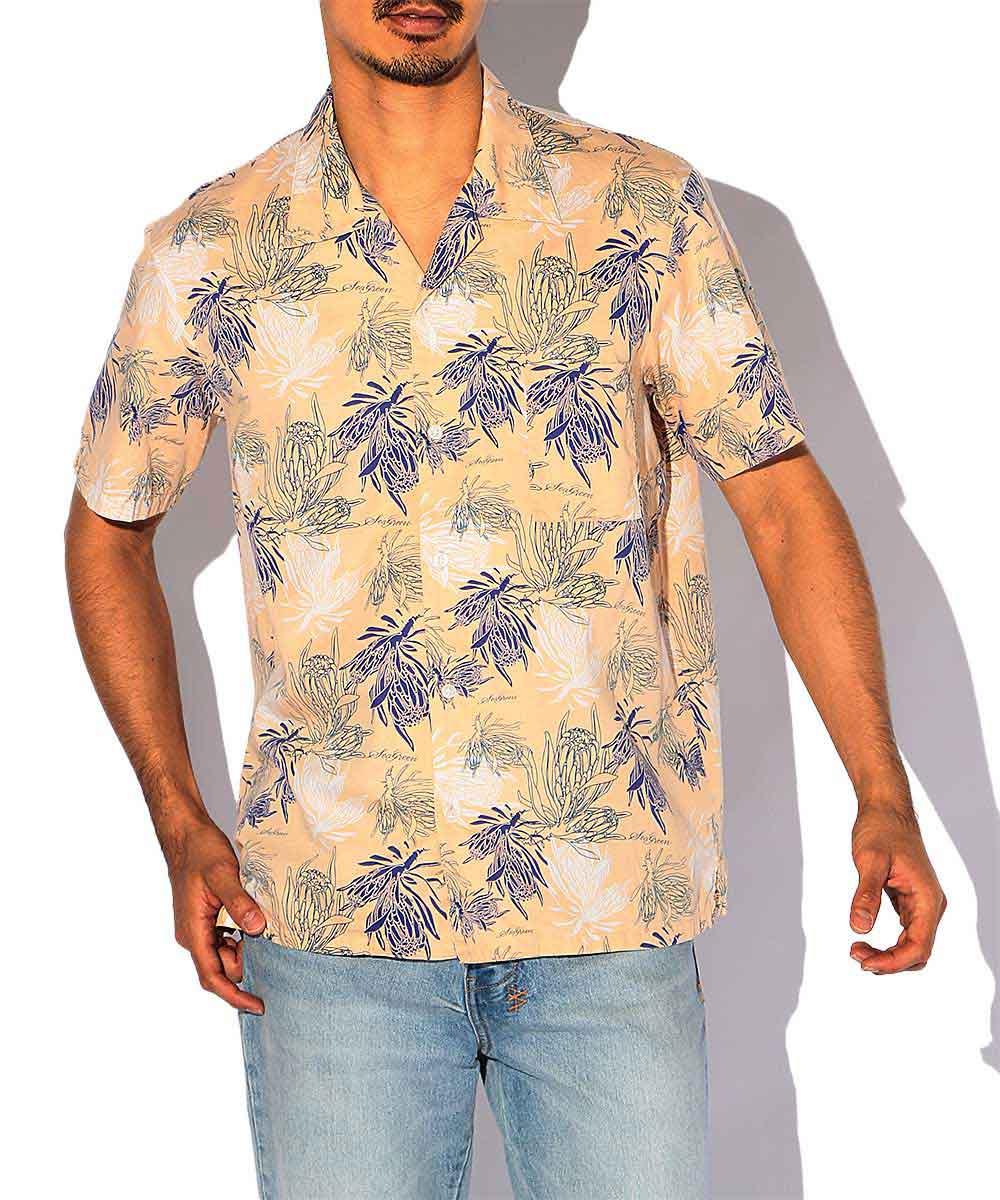 プロテア柄オープンカラーシャツ