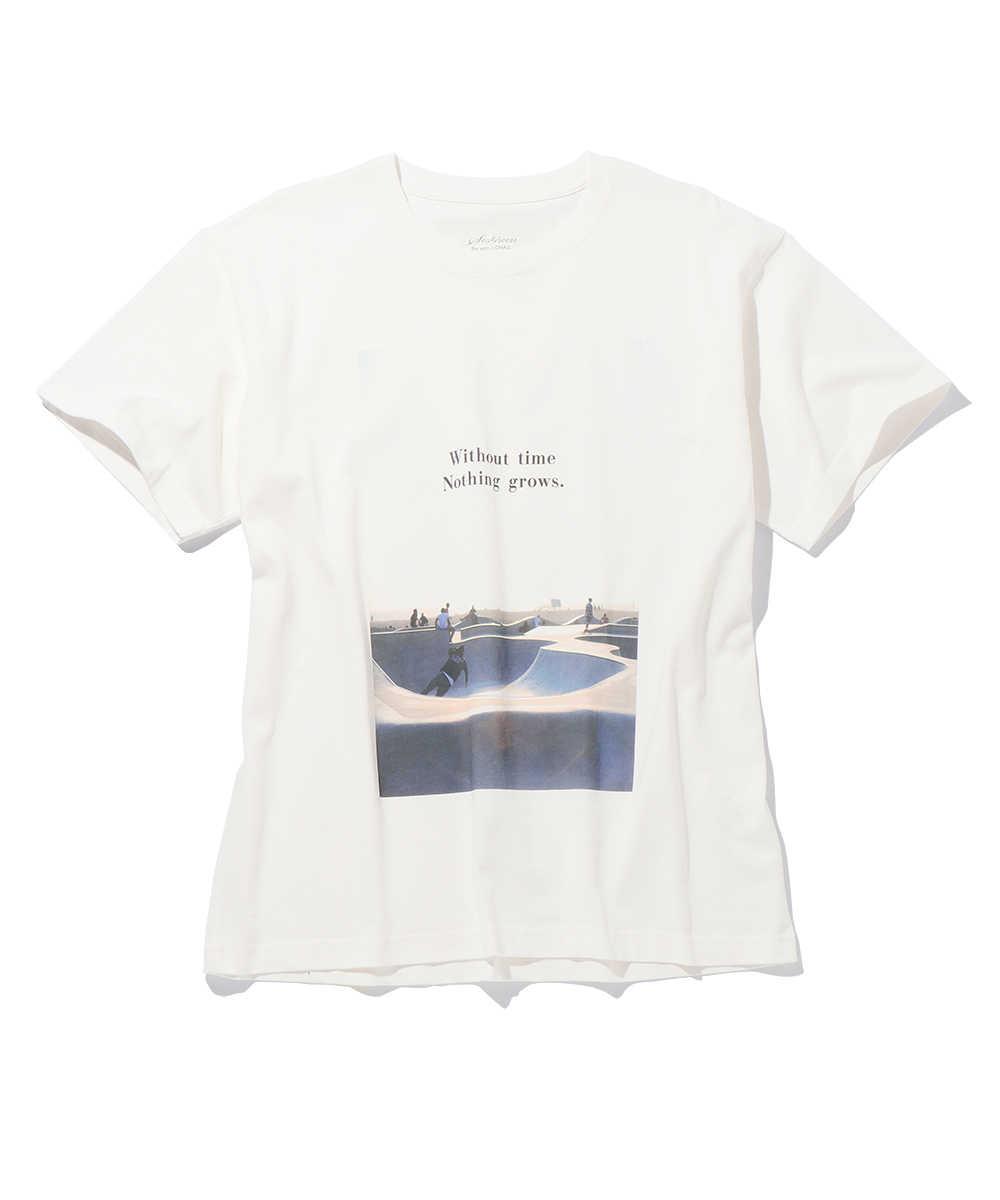 オーガニックコットンフォトプリントクルーネックTシャツ