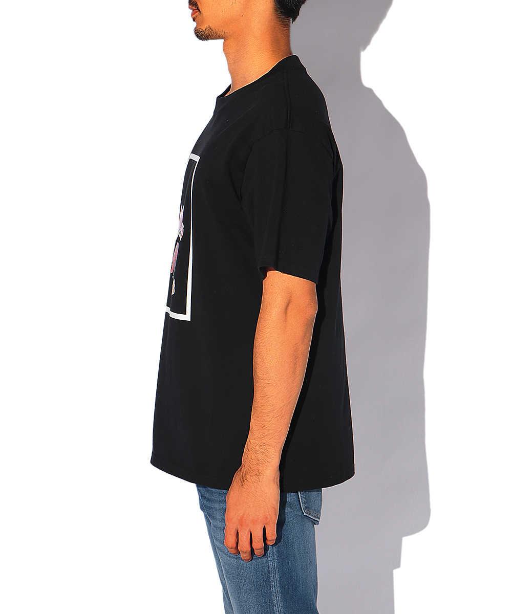 フローラルジェルプリントクルーネックTシャツ