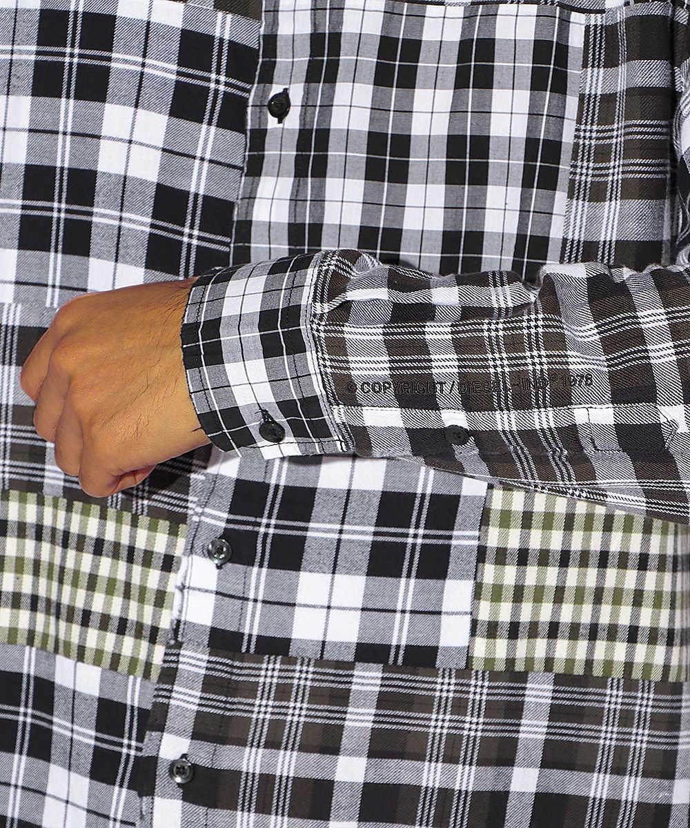 パッチワークプリントシャツ