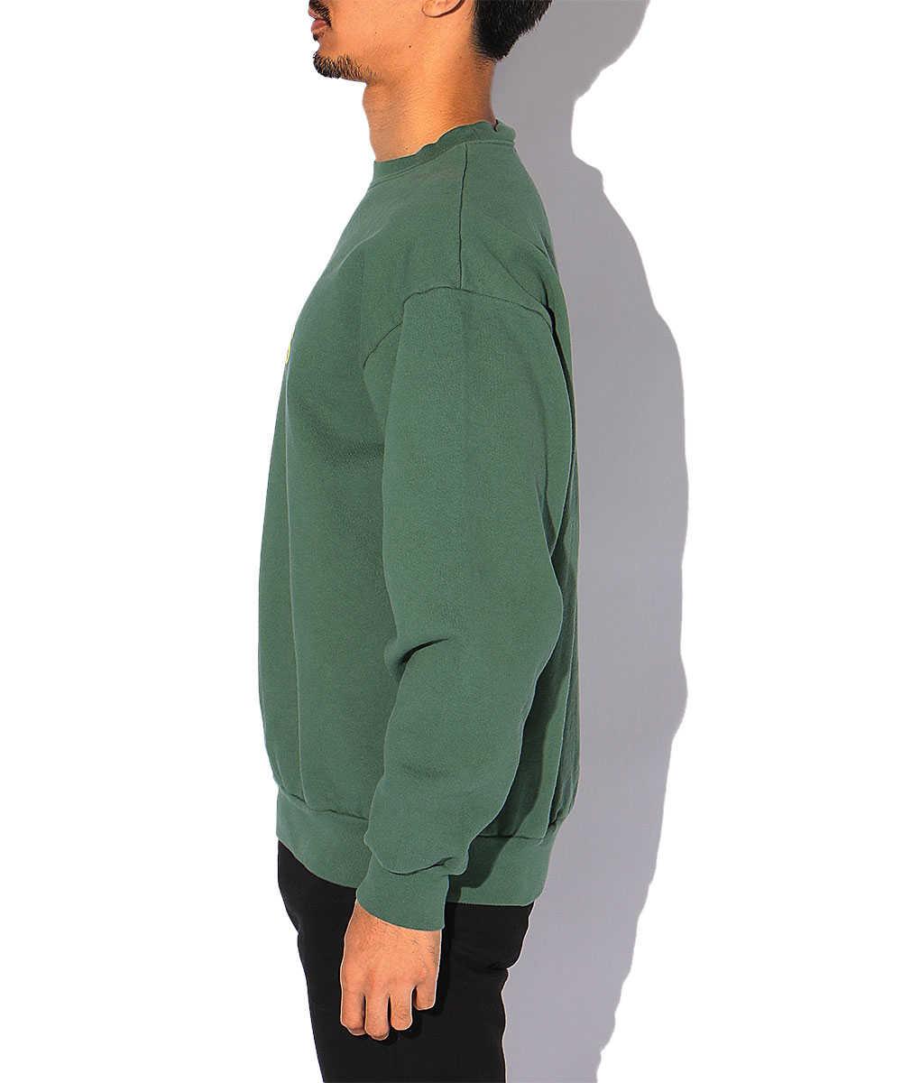 製品染めフロッキープリントスウェットシャツ