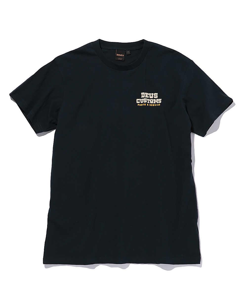 バックロゴプリントクルーネックTシャツ