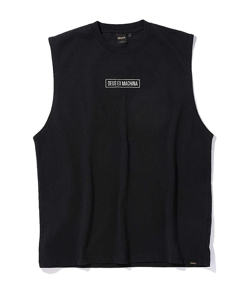 オリジナルロゴプリントノースリーブTシャツ