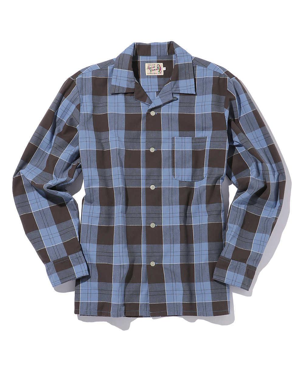 バック刺繍オープンカラーチェックシャツ