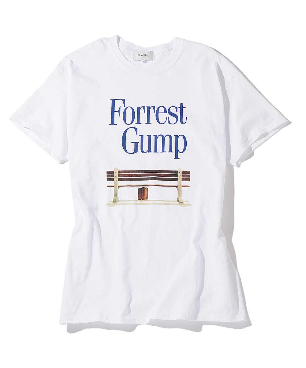パームストライプス×フォレストガンプ プリントクルーネックTシャツ