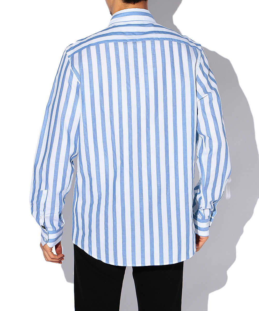 ロゴストライプコットンシャツ