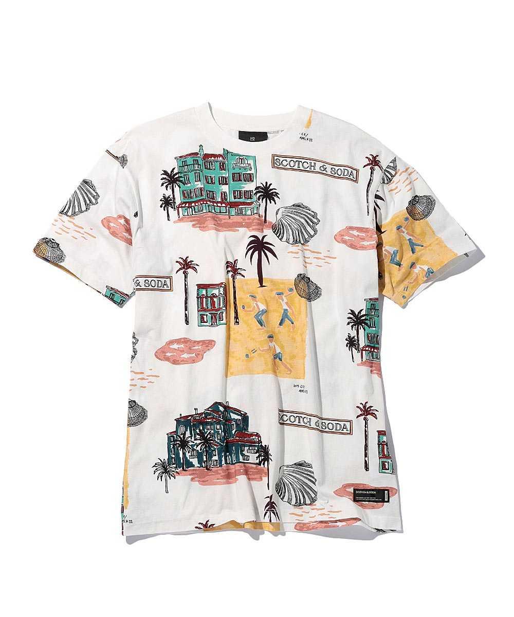 プリントコットンクルーネックTシャツ