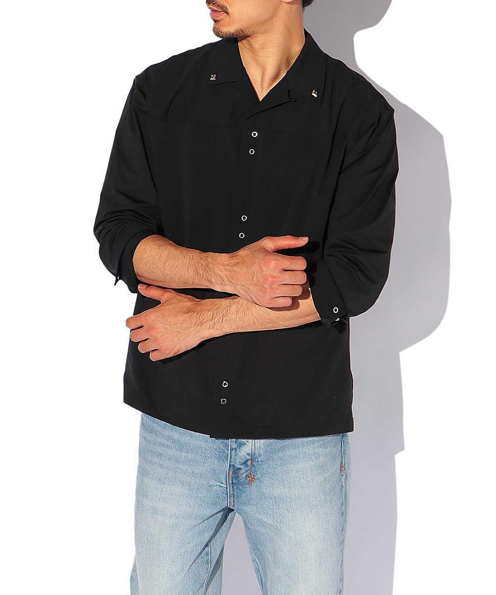 ブロッキングスタッズオープンカラーシャツ