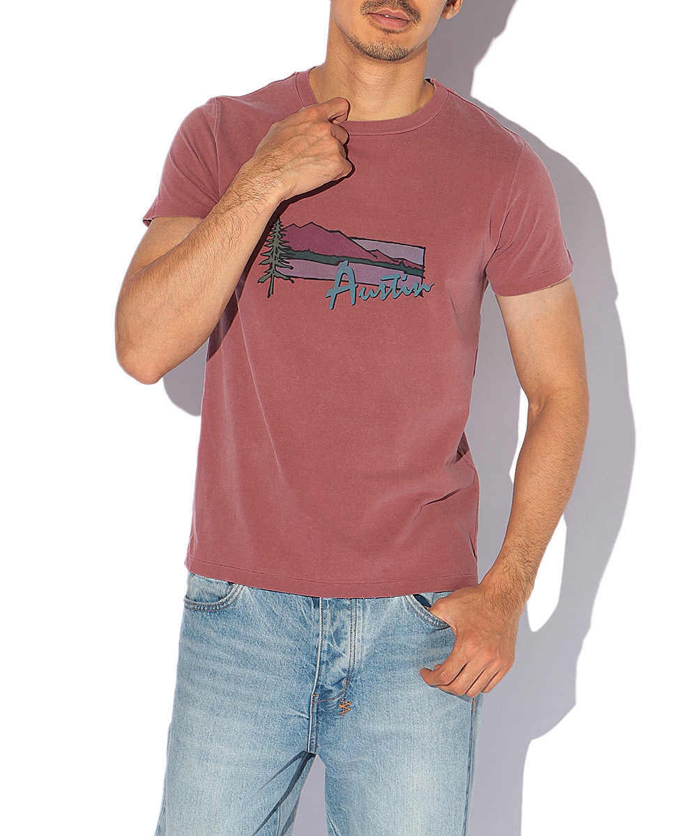 オーガニックコットンユーズド加工プリントクルーネックTシャツ