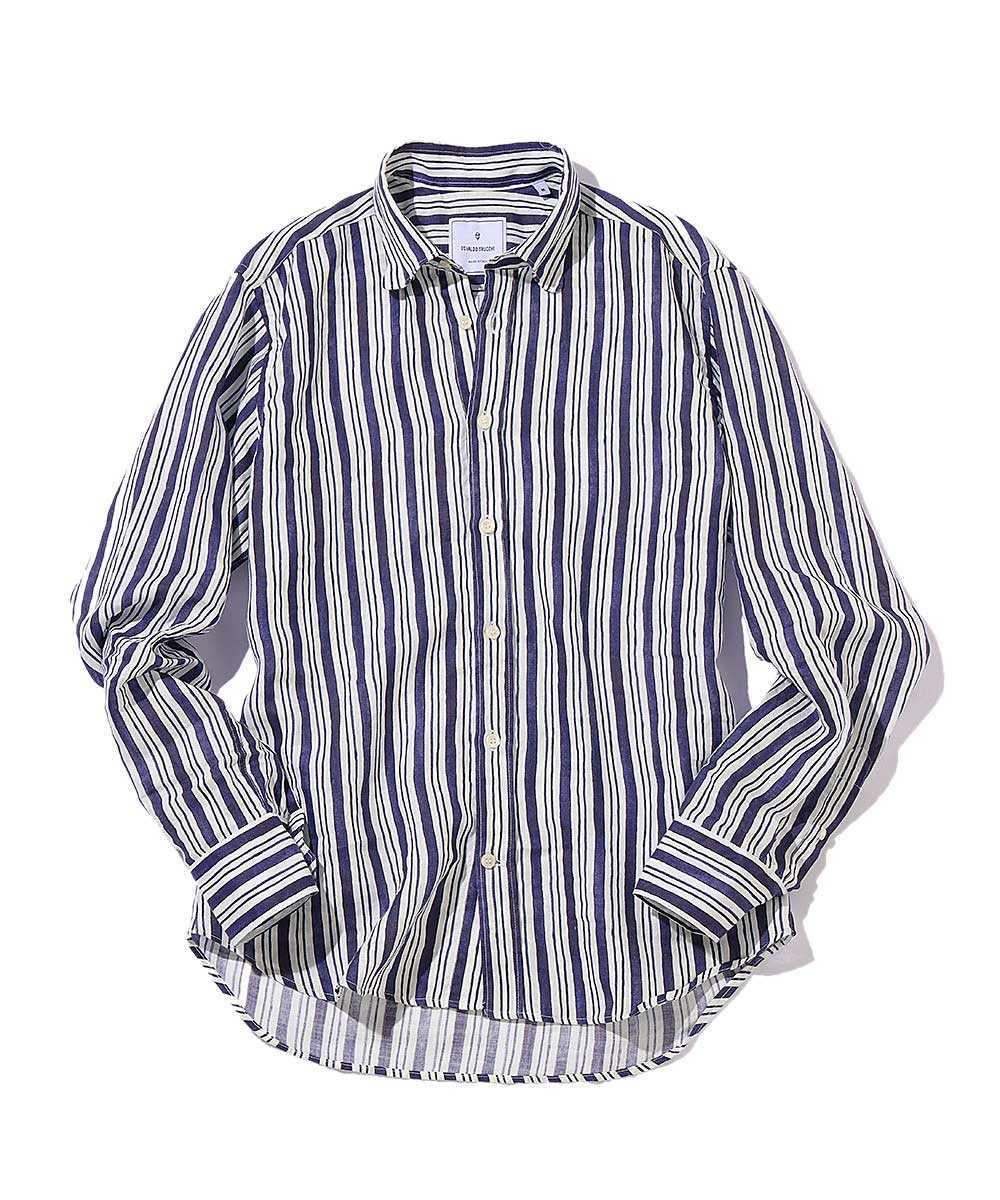 シックシンストライプリネンシャツ