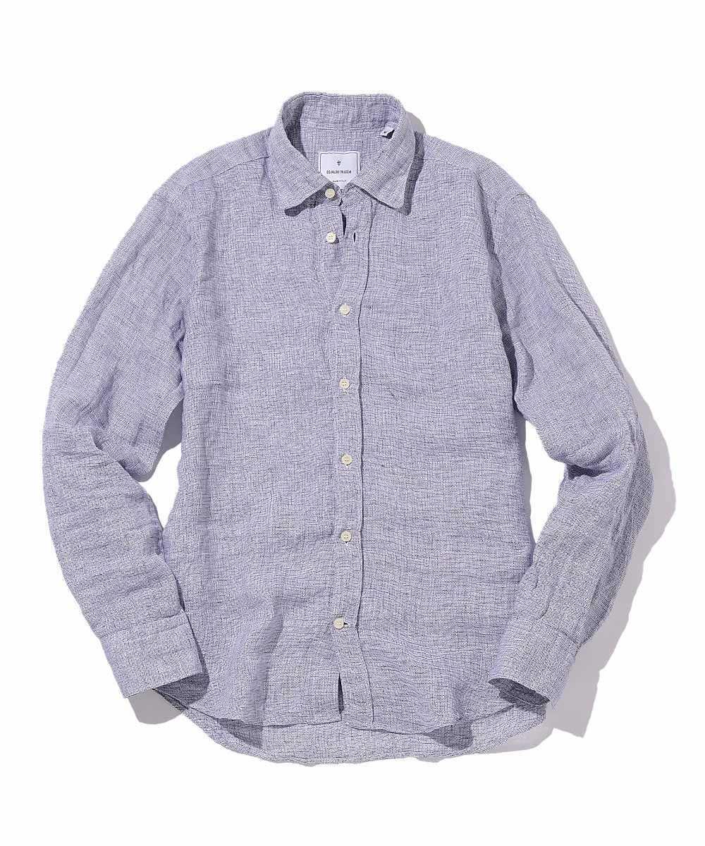 織柄リネンシャツ