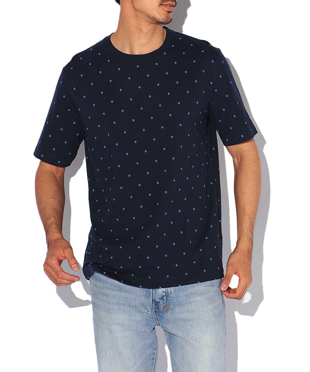 総柄プリントクルーネックTシャツ