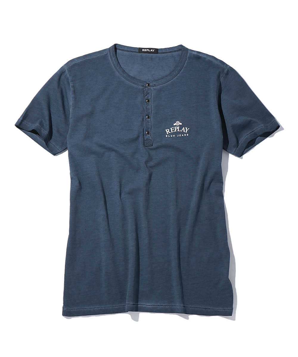 ロゴプリントヘンリーネックTシャツ