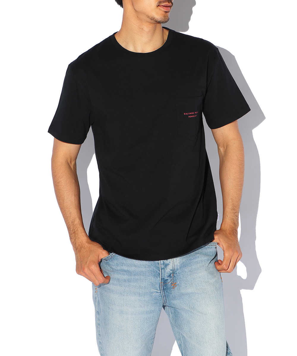 ロゴプリントポケットクルーネックTシャツ