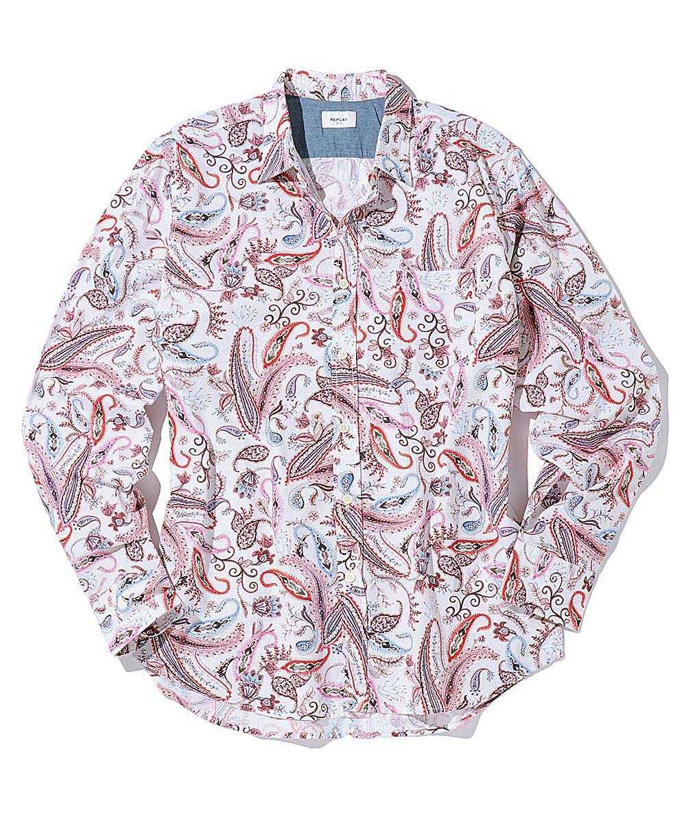 ホワイトローズペイズリーシャツ