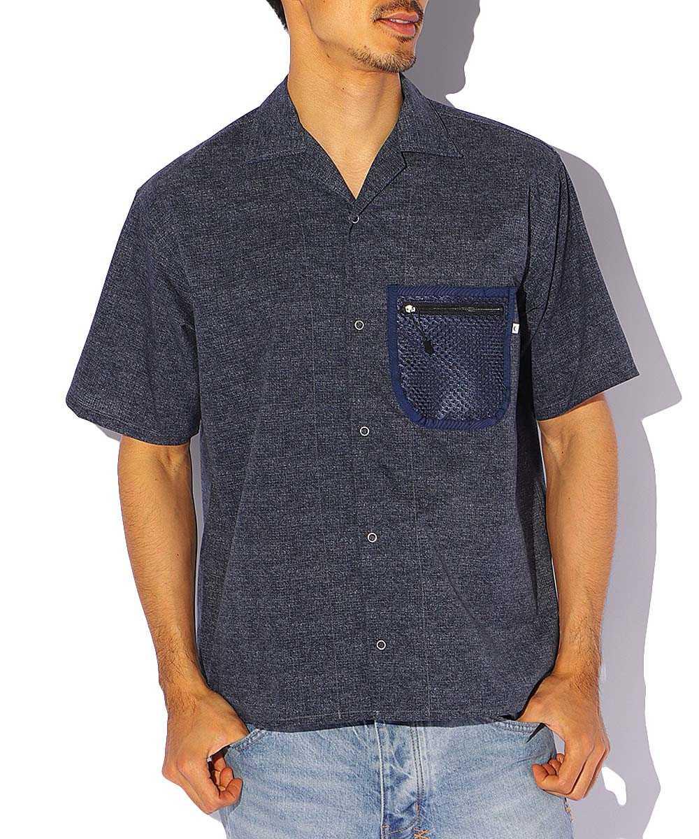 メッシュポケットオープンカラーシャツ