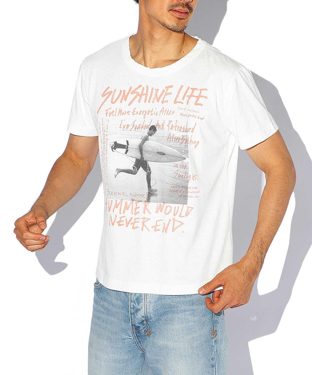トライブレンドプリントクルーネックTシャツ